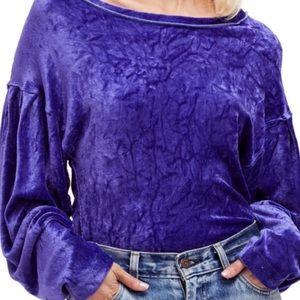 Free People Purple Velvet Top with Dolman Sleeve